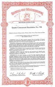 State of Michigan Senate Concurrent Resolution No. 755
